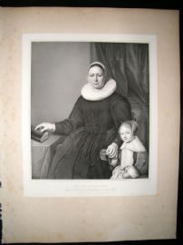 After Bartholomeus van der Helst C1840 LG Folio Print. Dutch Mother with Child